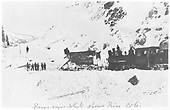 RGS plow-flanger #02 and an unidentified C-16 working on a snow slide in Burns Gulch.<br /> RGS  Burns Canyon, CO  after 2/1/1916