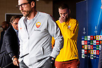 Daniele De Rossi (R) and coach Eusebio Di Francesco of Roma during press conference the day before Champions League match between Real Madrid and Roma at Santiago Bernabeu Stadium in Madrid, Spain. September 18, 2018. (ALTERPHOTOS/Borja B.Hojas)
