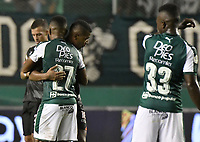 PALMIRA - COLOMBIA, 31-03-2019: Juan D  Rengifo y Darwin Andrade del Cali celebran después del partido por la fecha 12 de la Liga Águila I 2019 entre Deportivo Cali y Cúcuta Deportivo jugado en el estadio Deportivo Cali de la ciudad de Palmira. / Juan D  Rengifo and Darwin Andrade of Cali celebrate after match for the date 12 as part Aguila League I 2019 between Deportivo Cali and Cucuta Deportivo played at Deportivo Cali stadium in Palmira city.  Photo: VizzorImage / Gabriel Aponte / Staff