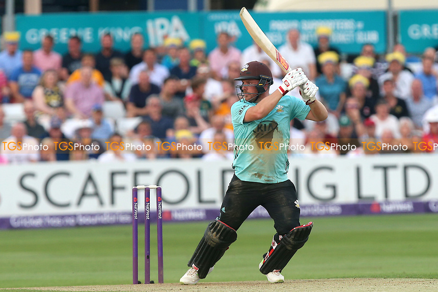 Aaron Finch hits four runs for Surrey during Essex Eagles vs Surrey, NatWest T20 Blast Cricket at The Cloudfm County Ground on 7th July 2017