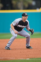 Bryant Bulldogs third baseman John Mullen (42) on defense against the Coastal Carolina Chanticleers at Springs Brooks Stadium on March 13, 2015 in Charlotte, North Carolina.  The Chanticleers defeated the Bulldogs 7-2.  (Brian Westerholt/Four Seam Images)