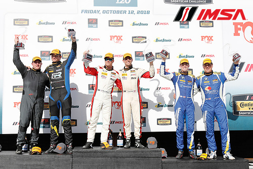 #73 MINI JCW Team, MINI JCW, ST: Mat Pombo, Mike LaMarra, #21 Bodymotion Racing, Porsche Cayman, ST: Max Faulkner, Jason Rabe, #81 BimmerWorld Racing, BMW 328i, ST: Nick Galante, Devin Jones celebrate on the podium