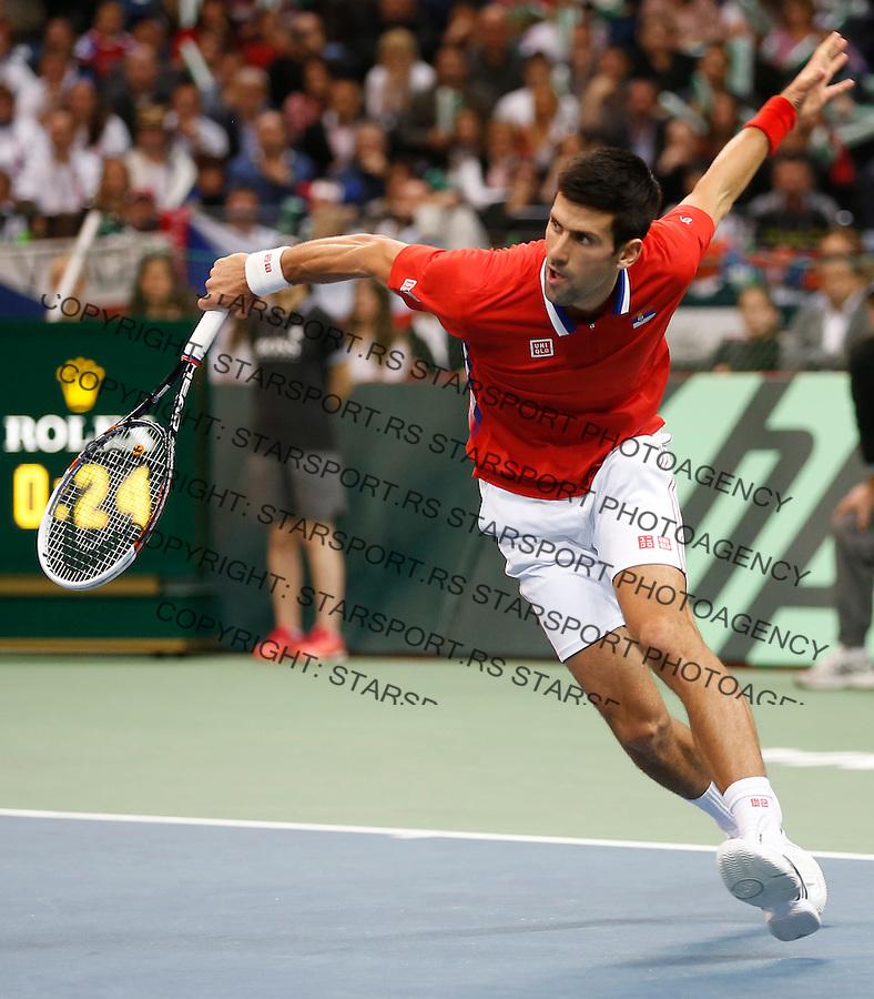 Tennis Tenis<br /> Davis Cup Final 2013<br /> Serbia v Czech Republic<br /> Novak Djokovic v Tomas Berdych<br /> Novak Djokovic in action<br /> Beograd, 17.11.2013.<br /> foto: Srdjan Stevanovic/Starsportphoto &copy;