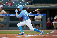 Brian Miller (5) of the North Carolina Tar Heels follows through on his swing against the Florida State Seminoles in the 2017 ACC Baseball Championship Game at Louisville Slugger Field on May 28, 2017 in Louisville, Kentucky. The Seminoles defeated the Tar Heels 7-3. (Brian Westerholt/Four Seam Images)
