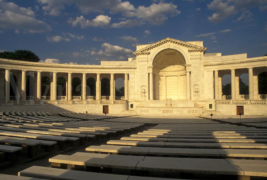 AJ4216, Arlington, National Cemetery, Amphitheater, Virginia, Memorial Amphitheater a white marble structure at Arlington Nat'l Cemetery in Arlington in the state of Virginia.