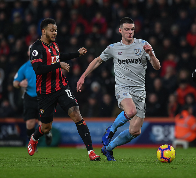 West Ham United's Declan Rice (right) under pressure from Bournemouth's Joshua King (left) <br /> <br /> Photographer David Horton/CameraSport<br /> <br /> The Premier League - Bournemouth v West Ham United - Saturday 19 January 2019 - Vitality Stadium - Bournemouth<br /> <br /> World Copyright &copy; 2019 CameraSport. All rights reserved. 43 Linden Ave. Countesthorpe. Leicester. England. LE8 5PG - Tel: +44 (0) 116 277 4147 - admin@camerasport.com - www.camerasport.com