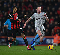 West Ham United's Declan Rice (right) under pressure from Bournemouth's Joshua King (left) <br /> <br /> Photographer David Horton/CameraSport<br /> <br /> The Premier League - Bournemouth v West Ham United - Saturday 19 January 2019 - Vitality Stadium - Bournemouth<br /> <br /> World Copyright © 2019 CameraSport. All rights reserved. 43 Linden Ave. Countesthorpe. Leicester. England. LE8 5PG - Tel: +44 (0) 116 277 4147 - admin@camerasport.com - www.camerasport.com