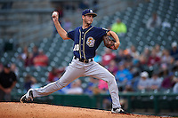 San Antonio Missions pitcher Justin Hancock (20) delivers a pitch during a game against the NW Arkansas Naturals on May 30, 2015 at Arvest Ballpark in Springdale, Arkansas.  San Antonio defeated NW Arkansas 5-2.  (Mike Janes/Four Seam Images)