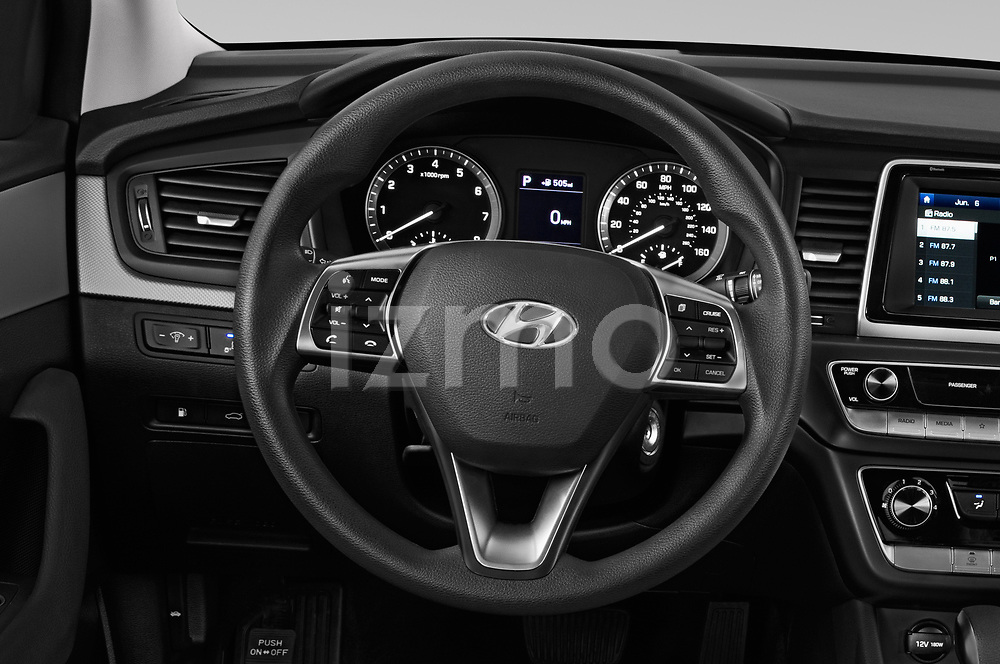 Car pictures of steering wheel view of a 2018 Hyundai Sonata Eco 4 Door Sedan