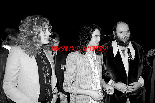 Led Zeppelin 1976 Robert Plant, Jimmy Page and manager Peter Grant at Song Remains The Same Premiere.© Chris Walter.