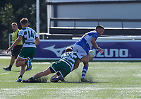 Harry Sloan of Ealing Trailfinders makes a tackle during the 2019/20 Pre Season Friendly match between Ealing Trailfinders and Bishop's Stortford at Castle Bar , West Ealing , England  on 24 August 2019. Photo by Alan  Stanford / PRiME Media images