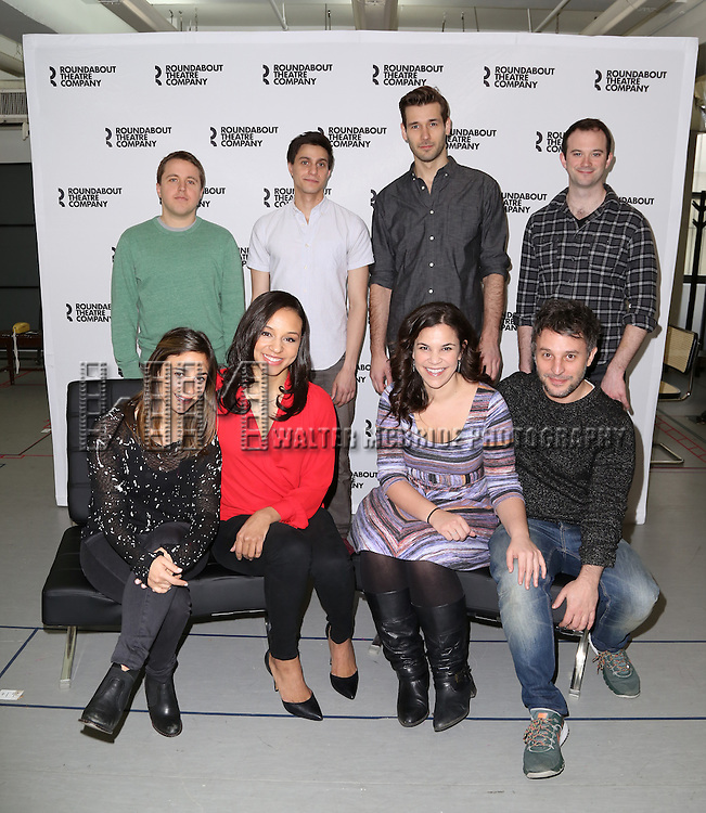Joshua Harmon, Gideon Glick, John Behlman, Luke Smith, Sas Goldberg, Carra Patterson, Lindsay Mendez and Trip Cullman attends the cast photo call for 'Significant Other' at the Roundabout Theatre rehearsal hall on April 24, 2015 in New York City.