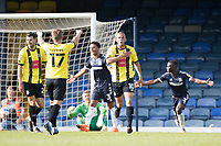 Aaron Martin, Harrogate Town,  celebrates his goal to put the visitors three up during Southend United vs Harrogate Town, Sky Bet EFL League 2 Football at Roots Hall on 12th September 2020