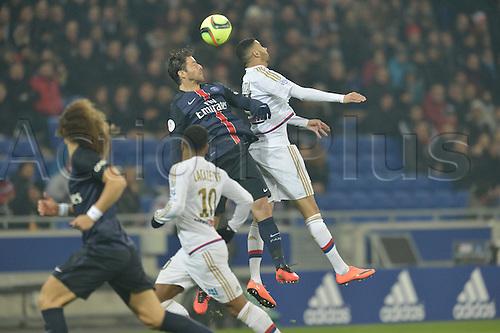 28.02.2016. Lyon, France. French League 1 football. Olympique Lyon versus Paris St Germain.  Rachid Ghezzal (lyon) challenges Thiago Motta (psg)
