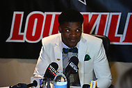 New York, NY - December 9, 2017: Louisville quarterback Lamar Jackson speaks during a media conference for the 2017 Heisman Trophy finalists at the New York Marriott Marquis in New York City, December 9, 2017. Jackson, the reigning Heisman winner and a two-time Heisman finalist, threw for 3,489 yards and 25 touchdowns.  (Photo by Don Baxter/Media Images International)