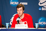 Wisconsin Badgers Frank Kaminsky (44) talks to the media after the fourth-round game in the NCAA college basketball tournament against the Baylor Bears Thursday, March 27, 2014 in Anaheim, California. The Badgers won 69-52. (Photo by David Stluka)