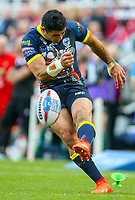 Warrington Wolves' Bryson Goodwin kicks at goal<br /> <br /> Photographer Alex Dodd/CameraSport<br /> <br /> Betfred Super League Round 15 - Magic Weekend - Wigan Warriors v Warrington Wolves - Saturday 19th May 2018 - St James' Park - Newcastle<br /> <br /> World Copyright &copy; 2018 CameraSport. All rights reserved. 43 Linden Ave. Countesthorpe. Leicester. England. LE8 5PG - Tel: +44 (0) 116 277 4147 - admin@camerasport.com - www.camerasport.com