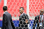02 July 2007: Assistant Referee Rafael Rivas (COL) (center) with Referee Hernando Buitrago (COL) (l) and Assistant Referee Abraham Gonzalez (COL) (r) examine one of the nets before the game. At the National Soccer Stadium, also known as BMO Field, in Toronto, Ontario, Canada. Portugal's Under-20 Men's National Team defeated New Zealand's Under-20 Men's National Team 2-0 in a Group C opening round match during the FIFA U-20 World Cup Canada 2007 tournament.