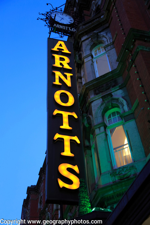 Arnotts department store shop sign at night, Dublin, Ireland, Republic of Ireland