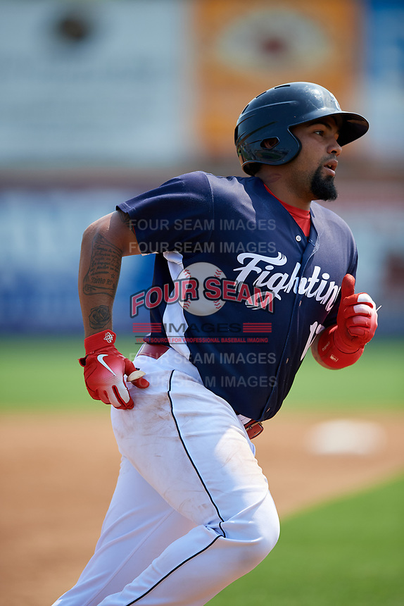 Reading Fightin Phils catcher Deivi Grullon (17) runs the bases after hitting a second inning home run during the first game of a doubleheader against the Portland Sea Dogs on May 15, 2018 at FirstEnergy Stadium in Reading, Pennsylvania.  Portland defeated Reading 8-4.  (Mike Janes/Four Seam Images)