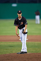 Batavia Muckdogs relief pitcher Eli Villalobos (21) looks in for the sign during a game against the Lowell Spinners on July 14, 2018 at Dwyer Stadium in Batavia, New York.  Lowell defeated Batavia 8-4.  (Mike Janes/Four Seam Images)