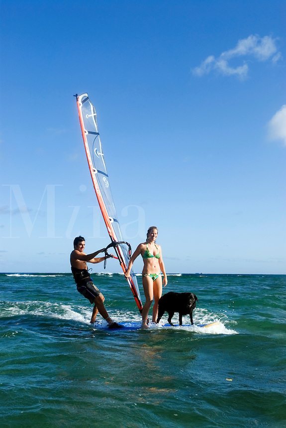 Couple & dog windsurfing together, Oahu, Hawaii.   Early 30's, caucasian.