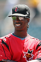 May 13, 2009:  Center Fielder Andrew McCutchen of the Indianapolis Indians, International League Class-AAA affiliate of the Pittsburgh Pirates, does an interview after a game at Frontier Field in Rochester, FL.  Photo by:  Mike Janes/Four Seam Images