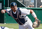 April 28, 2012:   Nevada Wolf Pack catcher Carlos Escobar Jr throws to first against the Fresno State Bulldogs during their NCAA baseball game played at Peccole Park on Saturday afternoon in Reno, Nevada.