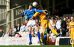 Motherwell v St Johnstone....28.04.12   SPL.Murray Davidson and Ross Forbes.Picture by Graeme Hart..Copyright Perthshire Picture Agency.Tel: 01738 623350  Mobile: 07990 594431