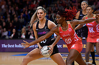 Silver Ferns' Te Paea Selby-Rickit and England's Ama Agbeze in action during the International Netball - NZ Silver Ferns v England Roses at Te Rauparaha Arena, Porirua, New Zealand on Thursday 7 September 2017.<br /> Photo by Masanori Udagawa. <br /> www.photowellington.photoshelter.com