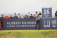 Paul Waring (ENG) on the 16th tee during Round 4 of the Alfred Dunhill Links Championship 2019 at St. Andrews Golf CLub, Fife, Scotland. 29/09/2019.<br /> Picture Thos Caffrey / Golffile.ie<br /> <br /> All photo usage must carry mandatory copyright credit (© Golffile | Thos Caffrey)