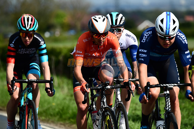 The breakaway group in action during Stage 1 of the Tour de Yorkshire 2018 running 182km from Beverley to Doncaster, England. 3rd May 2018.<br /> Picture: ASO/Alex Broadway | Cyclefile<br /> <br /> <br /> All photos usage must carry mandatory copyright credit (© Cyclefile | ASO/Alex Broadway)
