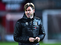 Lincoln City's assistant manager Nicky Cowley during the pre-match warm-up<br /> <br /> Photographer Andrew Vaughan/CameraSport<br /> <br /> The EFL Checkatrade Trophy Northern Group H - Scunthorpe United v Lincoln City - Tuesday 9th October 2018 - Glanford Park - Scunthorpe<br />  <br /> World Copyright &copy; 2018 CameraSport. All rights reserved. 43 Linden Ave. Countesthorpe. Leicester. England. LE8 5PG - Tel: +44 (0) 116 277 4147 - admin@camerasport.com - www.camerasport.com