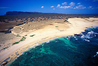 Aerial view of pristine beach and coastline on the island of Niihau