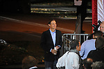 Senator Evan Bayh of Indiana stands to the side of the stage before a rally for Democratic presidential nominee Barack Obama in Wicker Park in Highland, Indiana on October 31, 2008.