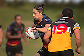 Jackson Orr cuts back infield past Justin Herewini. Counties Manukau Premier Club rugby game between Te Kauwhata and Onewhero, played at Te Kauwhata on Saturday April 16th 2016. Onewhero won the game 37 - 0 after leading 13 - 0 at Halftime. Photo by Richard Spranger.