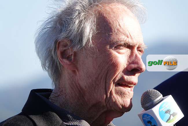 Hollywood star Clint Eastwood attends prize giving during the final round of the AT&T Pro-Am, Pebble Beach, Monterey, California, USA. 08/02/2020<br /> Picture: Golffile | Phil Inglis<br /> <br /> <br /> All photo usage must carry mandatory copyright credit (© Golffile | Phil Inglis)