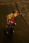In-line skater Jack Kaplan, 8, of Long Beach, New York, skates down the resi (short for resin) vert ramp in Cloud-9 at Camp Woodward in Woodward, Pennsylvania.  August 15, 2005.