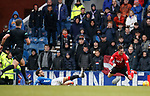 16.03.2019 Rangers v Kilmarnock: Connor Goldson booked for last minute last man tackle on Liam Miller
