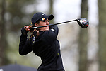 BROWNS SUMMIT, NC - MARCH 31: UNCG's Natalia Asensio (ESP) tees off on the 11th hole. The first round of the Bryan National Collegiate Women's Golf Tournament was held on March 31, 2017, at the Bryan Park Champions Course in Browns Summit, NC. A waterlogged course eventually suspended play.
