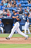 Asheville Tourists first baseman Jacob Bosiokovic (21) swings at a pitch up during a game against the Rome Braves at McCormick Field on June 24, 2017 in Asheville, North Carolina. The Tourists defeated the Braves 6-5. (Tony Farlow/Four Seam Images)