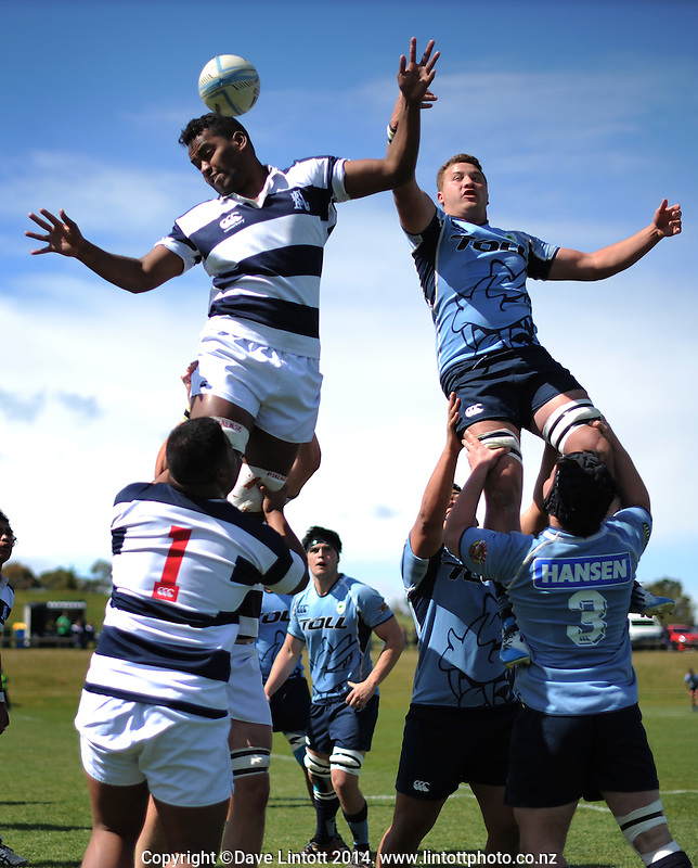 Action from the Under-19 provincial match match between Northland (sky blue) and Auckland B at Owen Delaney Park, Taupo, New Zealand on Wednesday, 1 October 2014. Photo: Dave Lintott / lintottphoto.co.nz