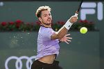 March 8, 2019: Stan Wawrinka (SUI) hits a forehand during his match where he defeated Daniel Evans (GBR) 6-7, 6-3, 6-3 at the BNP Paribas Open at the Indian Wells Tennis Garden in Indian Wells, California. ©Mal Taam/TennisClix/CSM