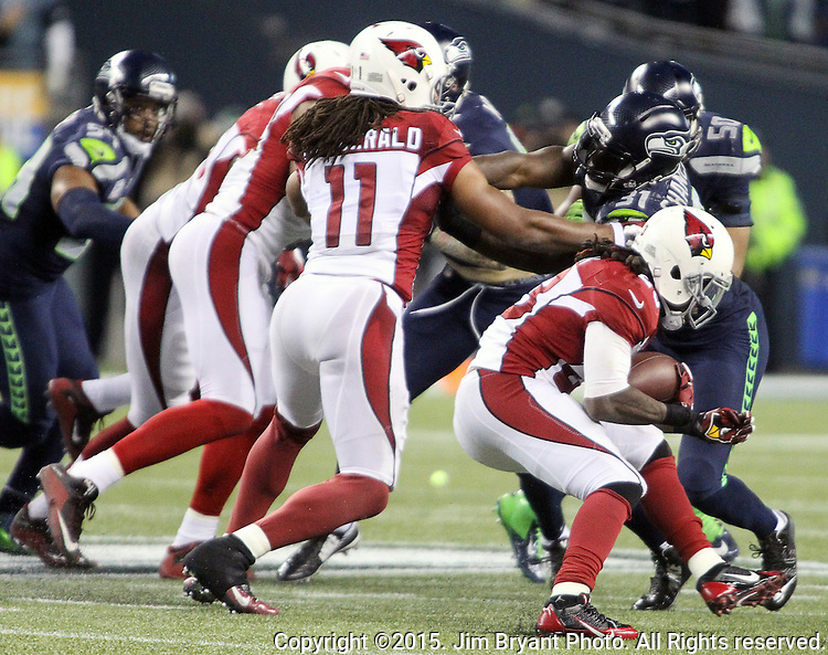 Arizona Cardinals running back Chris Johnson (23) runs against the Seattle Seahawks  at CenturyLink Field in Seattle, Washington on November 15, 2015. The Cardinals beat the Seahawks 39-32.   ©2015. Jim Bryant photo. All Rights Reserved.