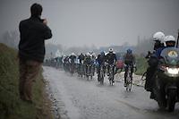 Dwars Door Vlaanderen 2013.Holleweg cobbles for the peloton