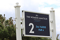 Sign on the 2nd tee during Round 1 of the Women's Amateur Championship at Royal County Down Golf Club in Newcastle Co. Down on Tuesday 11th June 2019.<br /> Picture:  Thos Caffrey / www.golffile.ie<br /> <br /> All photos usage must carry mandatory copyright credit (© Golffile | Thos Caffrey)