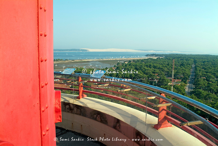 The Great Dune of Pilat, Europe's largest sand dune, seen from a lighthouse in Archachon Bay, Gironde, France.