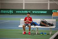 Rotterdam, The Netherlands, 15.03.2014. NOJK 14 and 18 years ,National Indoor Juniors Championships of 2014, Sidané Pontjodikromo (NED) during changeover<br /> Photo:Tennisimages/Henk Koster