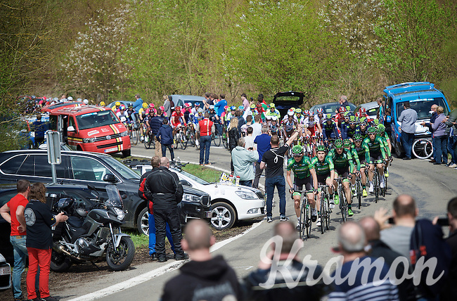 Team Europcar resolutely takes charge over the peloton on the first climb of the day: the Côte de La Roche-en-Ardenne (2900m/5.6%)<br /> <br /> 101th Liège-Bastogne-Liège 2015