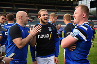 Allan Ryan, Max Clark and Jacques van Rooyen of Bath Rugby after the match. Gallagher Premiership match, between Leicester Tigers and Bath Rugby on May 18, 2019 at Welford Road in Leicester, England. Photo by: Patrick Khachfe / Onside Images